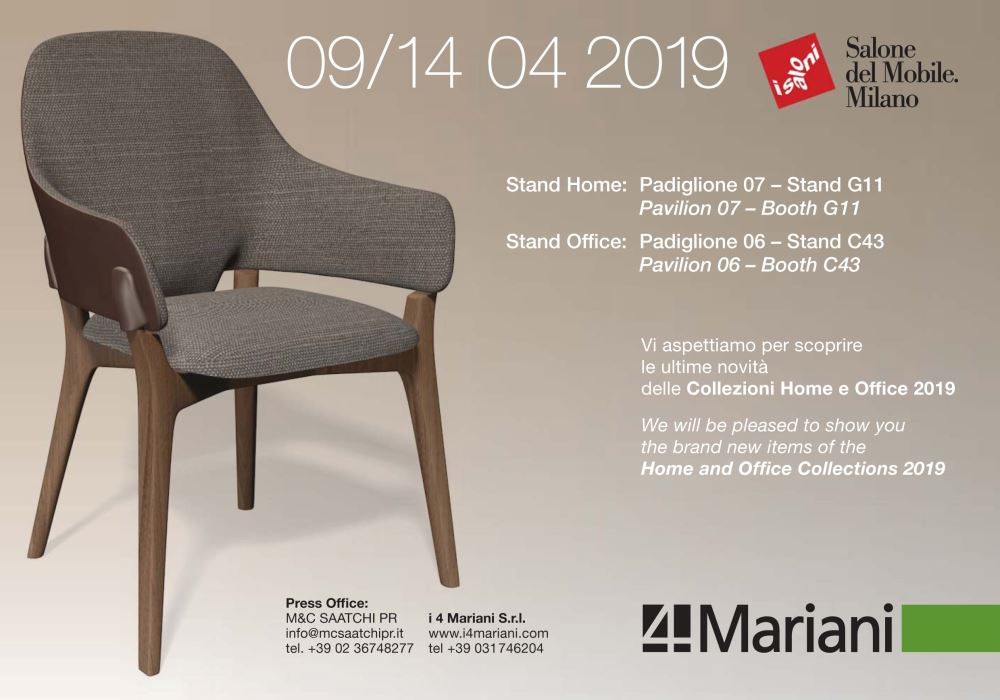 HOME AND OFFICE COLLECTIONS BY I 4 MARIANI AT SALONE DEL MOBILE 2019