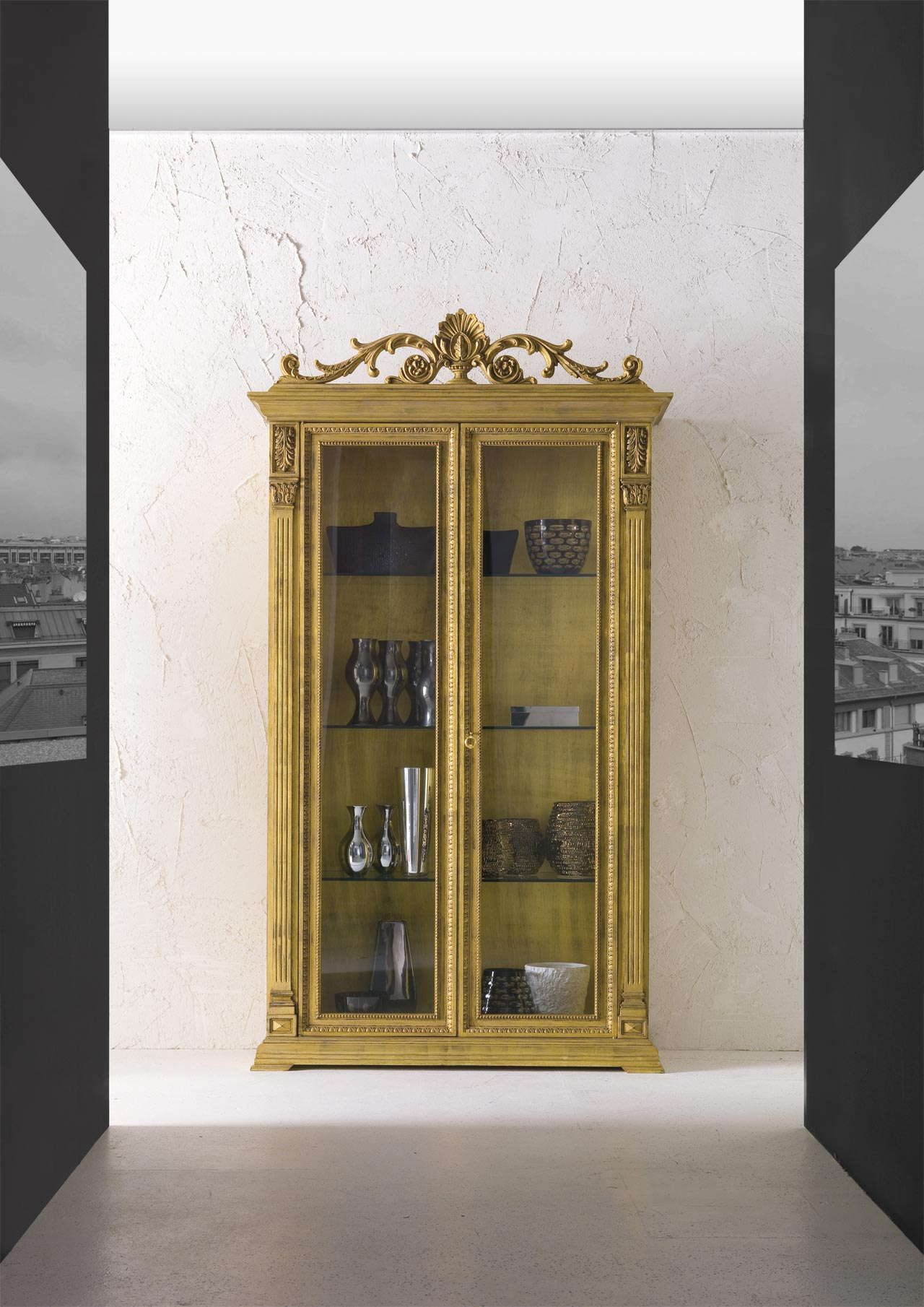 Ballabio Italia Display Cabinets ART A3 Two Door Empire CABINET In Gold  Leaf Finish ...