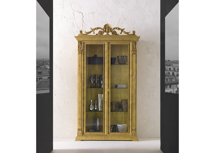 Ballabio Italia Display Cabinets ART A3 Two-door Empire CABINET in gold leaf finish